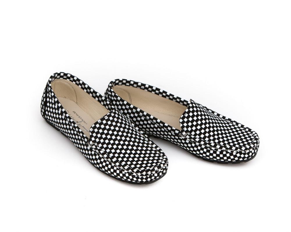 Mokasyny Damskie Skora Naturalna Model 001 Kolor Czarna Szachownica Sklep Zapato Loafers Shoes Fashion