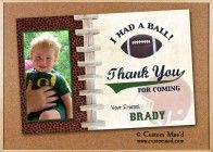 'Had A Ball' Football Thank You notes or Party Favors by 'Mae' - www.customaed.com
