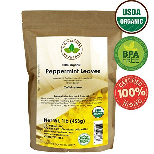 Peppermint Tea 1LB (16Oz) 100% CERTIFIED Organic Peppermint Loose Leaf (Whole Leaf) Leaf Peppermint Herbal Tea (Mentha piperita), Bulk 1 lb. stand-up BPA-free Bulk Resealable Bags from U.S. Wellness * Read more reviews of the product by visiting the link on the image.