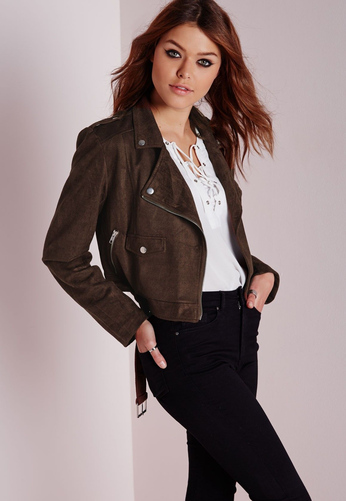 Missguided Faux Suede Biker Jacket Brown (With images