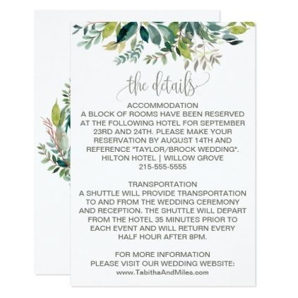 Foliage Wedding Details Enclosure Card