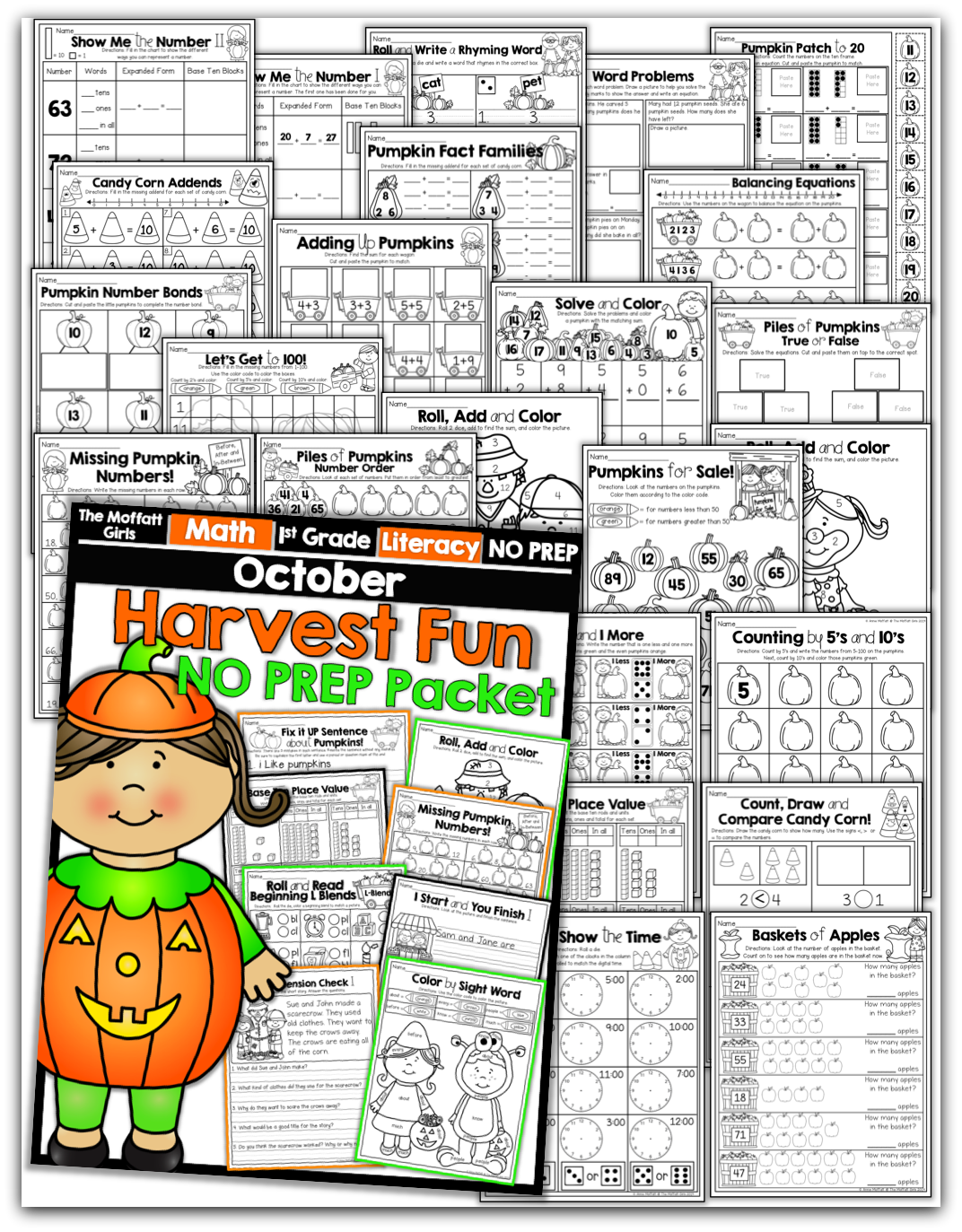 October No Prep Packet For 1st Grade Tons Of Hands On