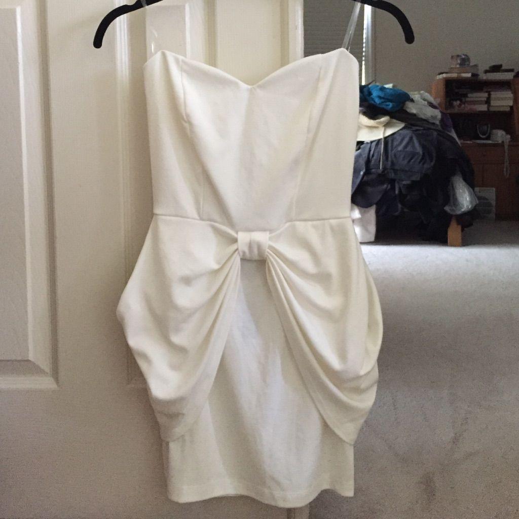 White Strapless Bow Dress