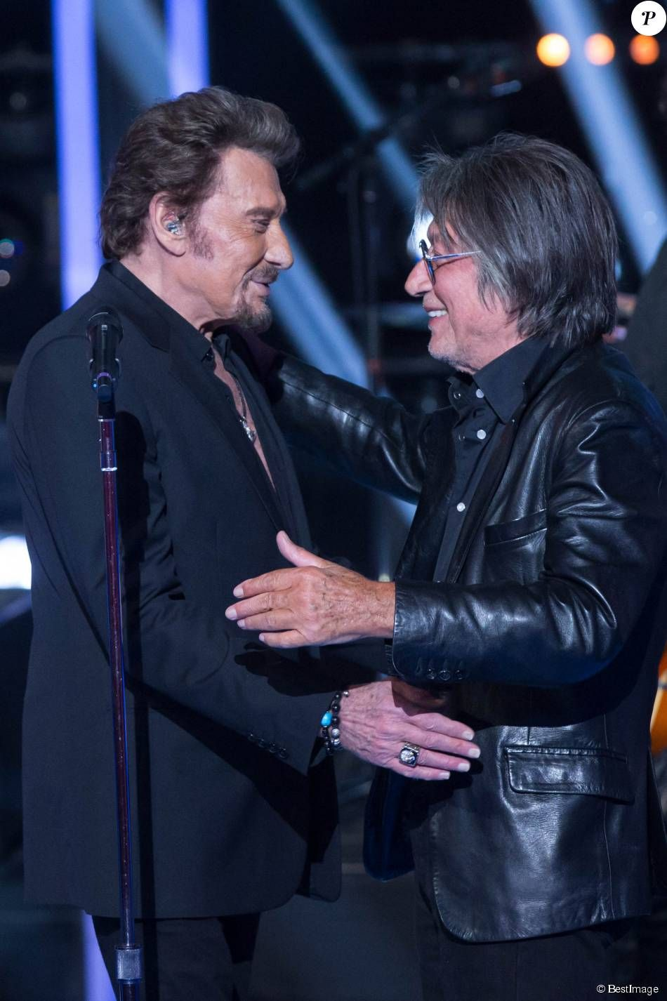 "Exclusif - Johnny Hallyday et Jacques Dutronc - Enregistrement le 28 octobre de l'émission ""Le Grand Show : Spécial Johnny Hallyday"". Diffusion sur France 2 le 28 novembre ©Cyril Moreau/Bestimage."