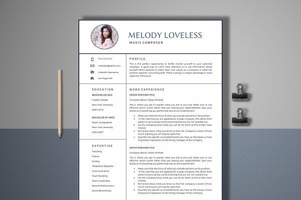 Resume Template 4 Page Music Creative Market! LOVE - resume music