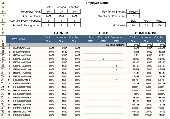 Employee Pto Tracker Excel Template Free  Excel Project