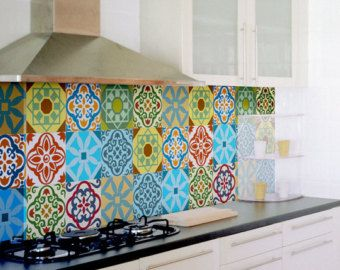 Tile decals SET of 15 tile stickers GEOMETRIC COLORS by stickdecor