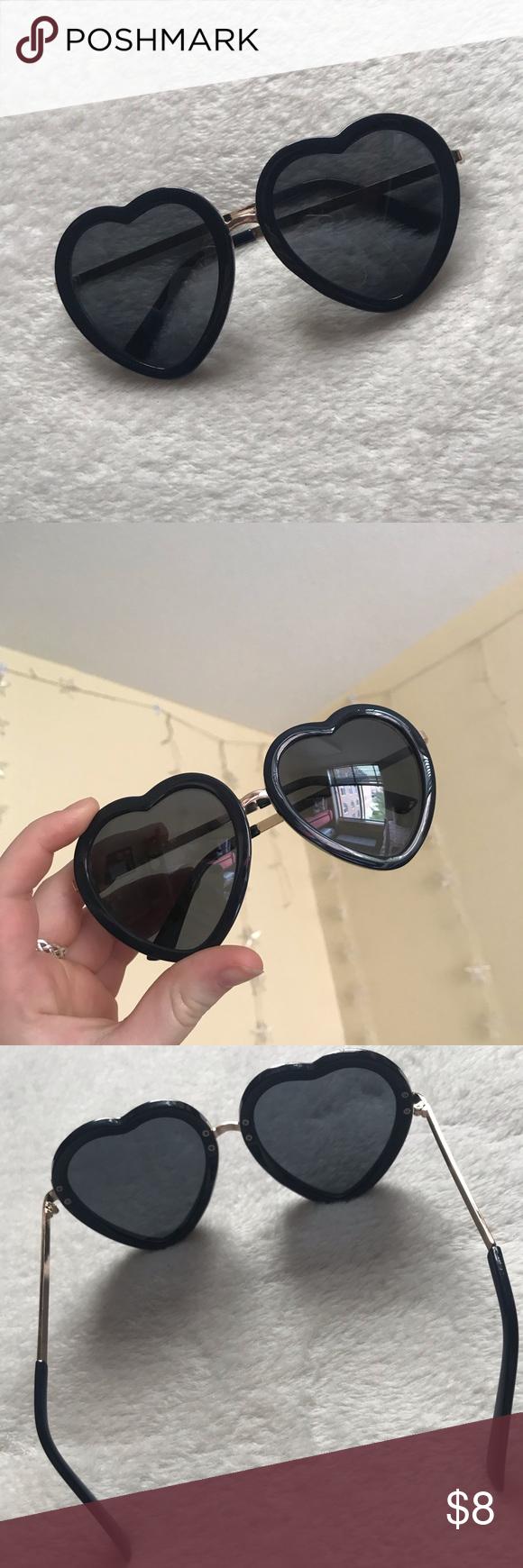 f4afefa67780f PacSun Heart Shaped Sunglasses Big navy blue heart shaped sunglasses from  LA Hearts brand at Pacsun