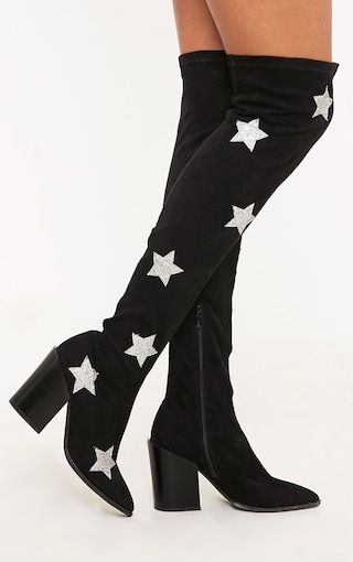 a9f94401dcb Ayesha Black Faux Suede Star Thigh High Western Boots | Shoes ...