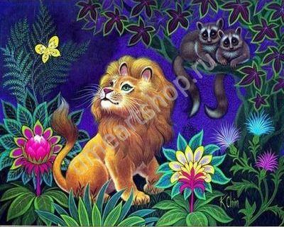 Львёнок, картина раскраска по номерам для детей, размер 20 ...