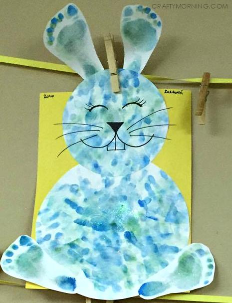 Footprint Handprint Bunny Easter Kids Craft Easter Easter Crafts