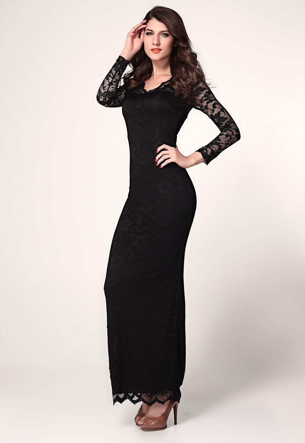 Long Sleeve Plus Size Maxi Dress With Lace Maxi Dresses Designs