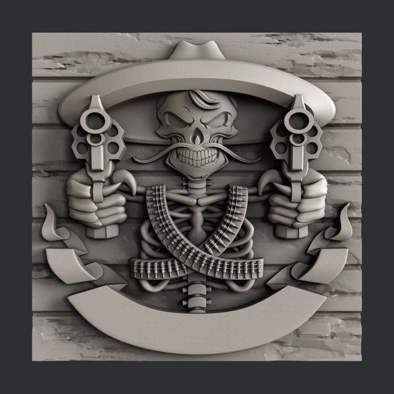 3d STL models for CNC or 3d printer Skull Guns Cnc, 3d