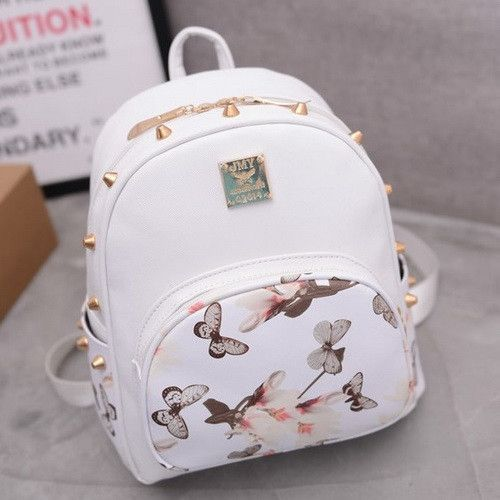 bd292c16be0 Butterfly Printing Small Korean Backpack Women Leather Backpack ...