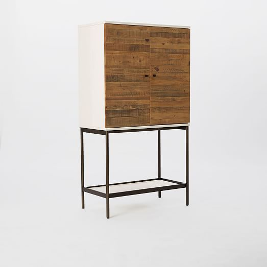 Reclaimed Wood + Lacquer Bar Cabinet | West Elm
