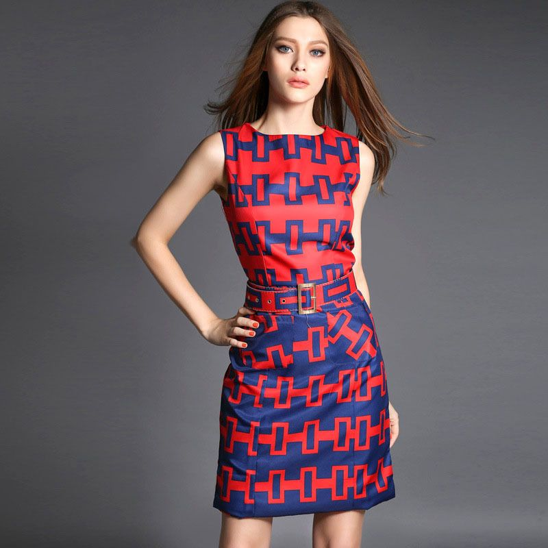 Geometric-Pattern-Women-Summer-Sleeveless-Tailored-Mini-Dress ...