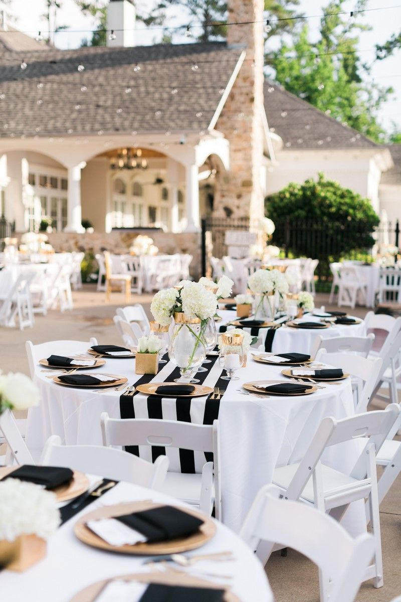 Black and gold wedding decorations outdoor table setting for Outdoor table decor ideas