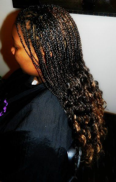 Single Braids With Ends Curly Mixed Colors Natural Hair