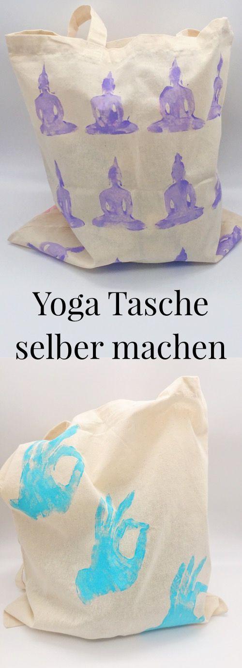 DIY Idee: Yoga Taschen Selber Machen. Stoffbeutel Mit Moosgummi Selber  Bedrucken. DIY Jutebeutel Selber Gestalten Und Bemalen.