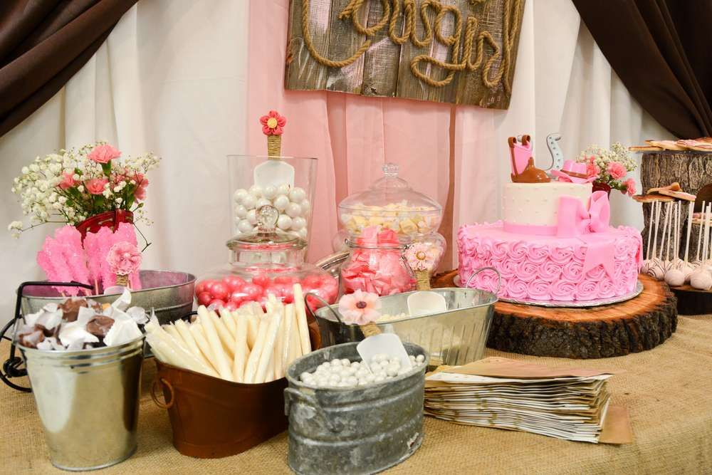 Gorgeous Dessert Table At A Cowgirl Baby Shower Party See