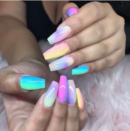 34 ideas nails pink blue ombre  gel nails multicolored