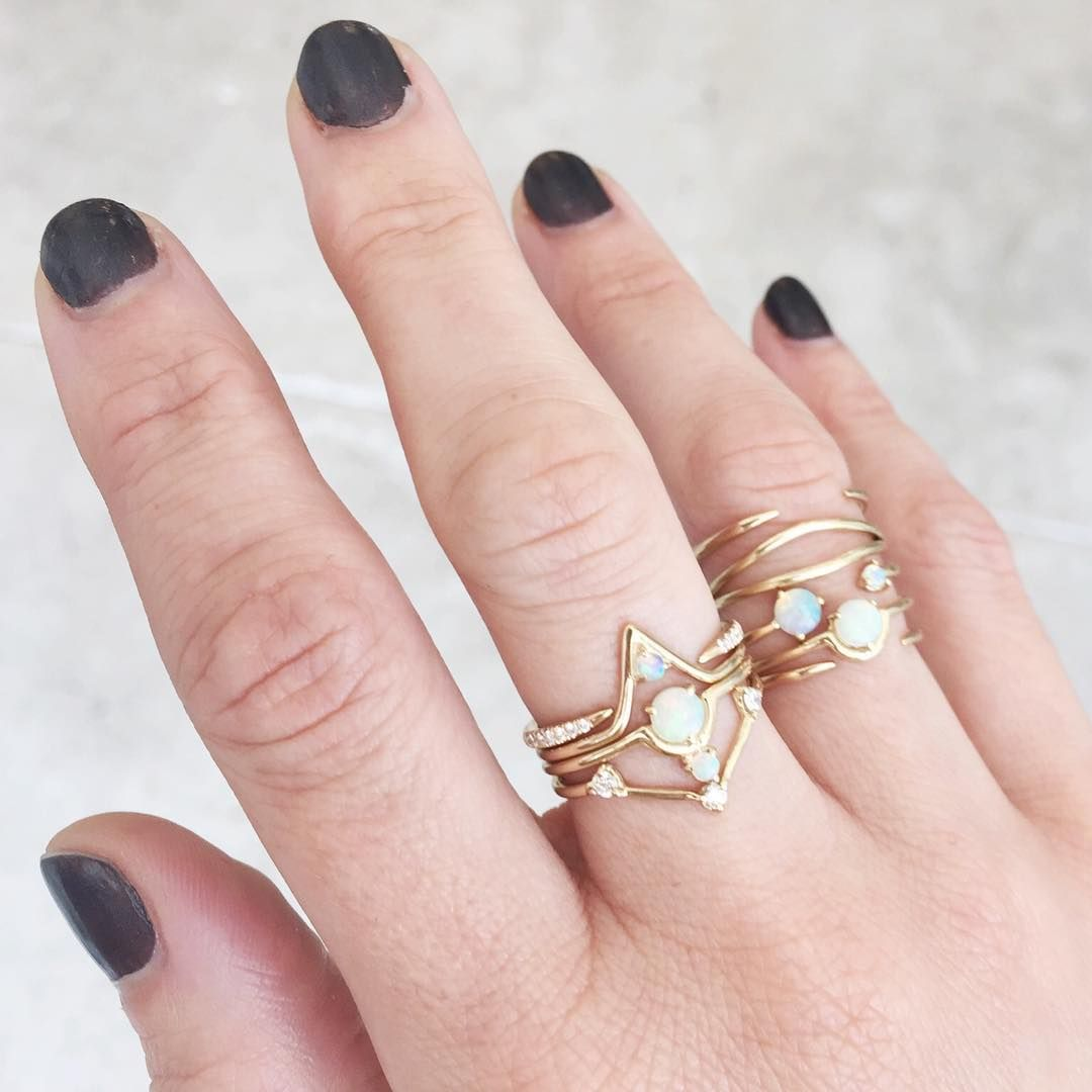 WWAKE stacking rings in opal and diamonds // ESQUELETO los angeles ...