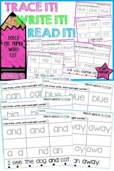 trace it write it read it sight word intervention pre primer list decoding teacher and. Black Bedroom Furniture Sets. Home Design Ideas