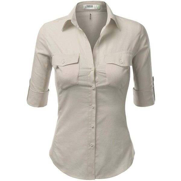 J.TOMSON Womens Button Down Cotton Shirt With Ribbed Side Trim (26 CAD) ❤ liked on Polyvore featuring tops, brown shirts, cotton button up shirt, rib shirt, woven cotton shirt and brown button up shirt