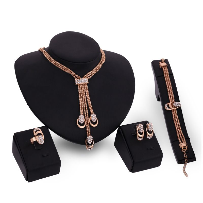 Hot Dubai Jewelry Sets Tassel Rose GoldGold Plated Crystal Necklace