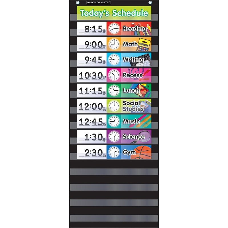 Scholastic teaching resources pocket chart daily schedule black