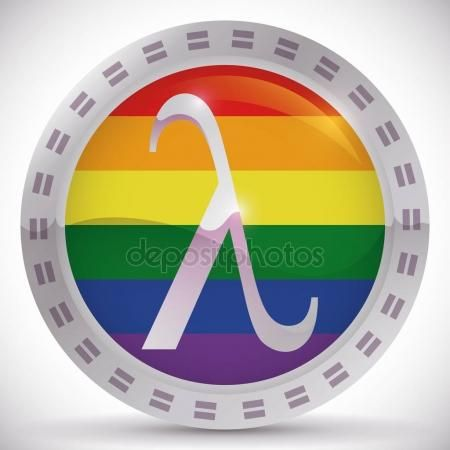 Button With Lambda Symbol For Equality Rights In Gay Pride Gay