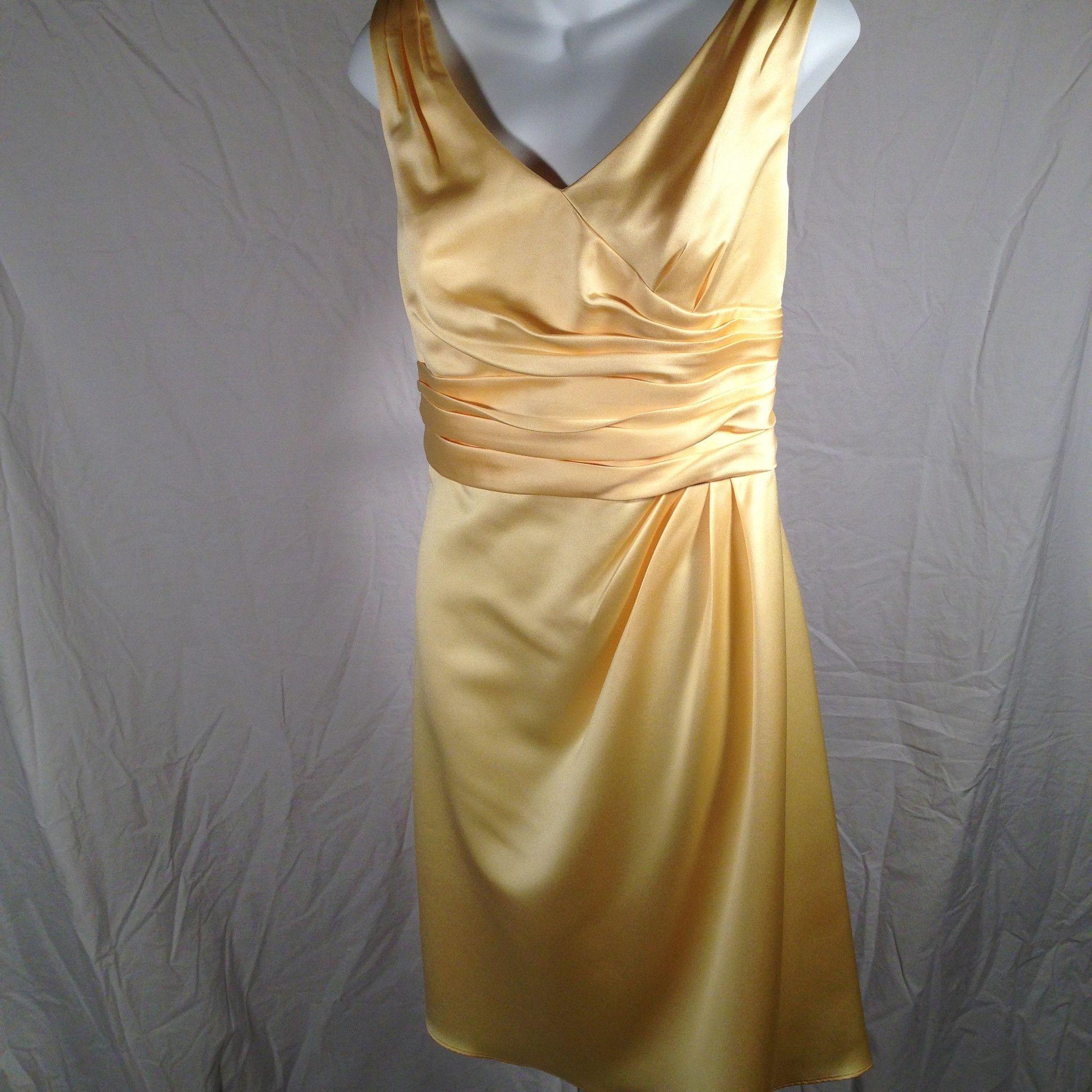 Yellow dress to wedding  Davidus Bridal Bridesmaid Sleeveless Yellow Dress Size   Weddings