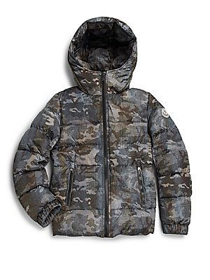 88d6ef935 Moncler Boy's Aubert Camouflage Hooded Puffer Jacket | Kids Style ...