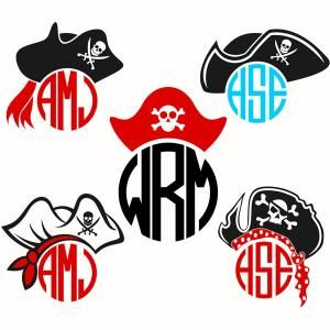 Pirate Hat With Skull And Crossbones Symbol Monogram Round Frame Cuttable  Design Cut File. Vector, Clipart, Digital Scrapbooking Download, Available  In JPEG ...