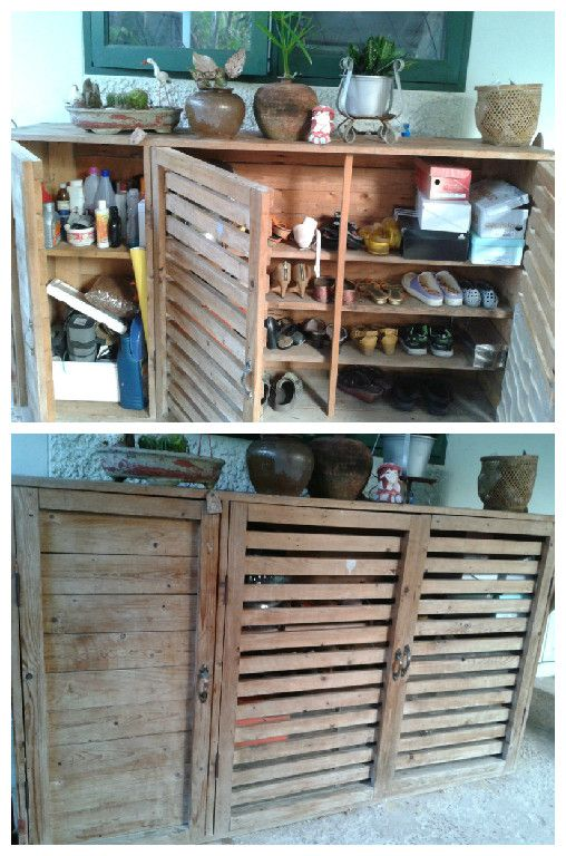 Make A Shoes And Tools Cabinet From Pallets #PalletCabinet,  #RecycledPallet, #Shoes