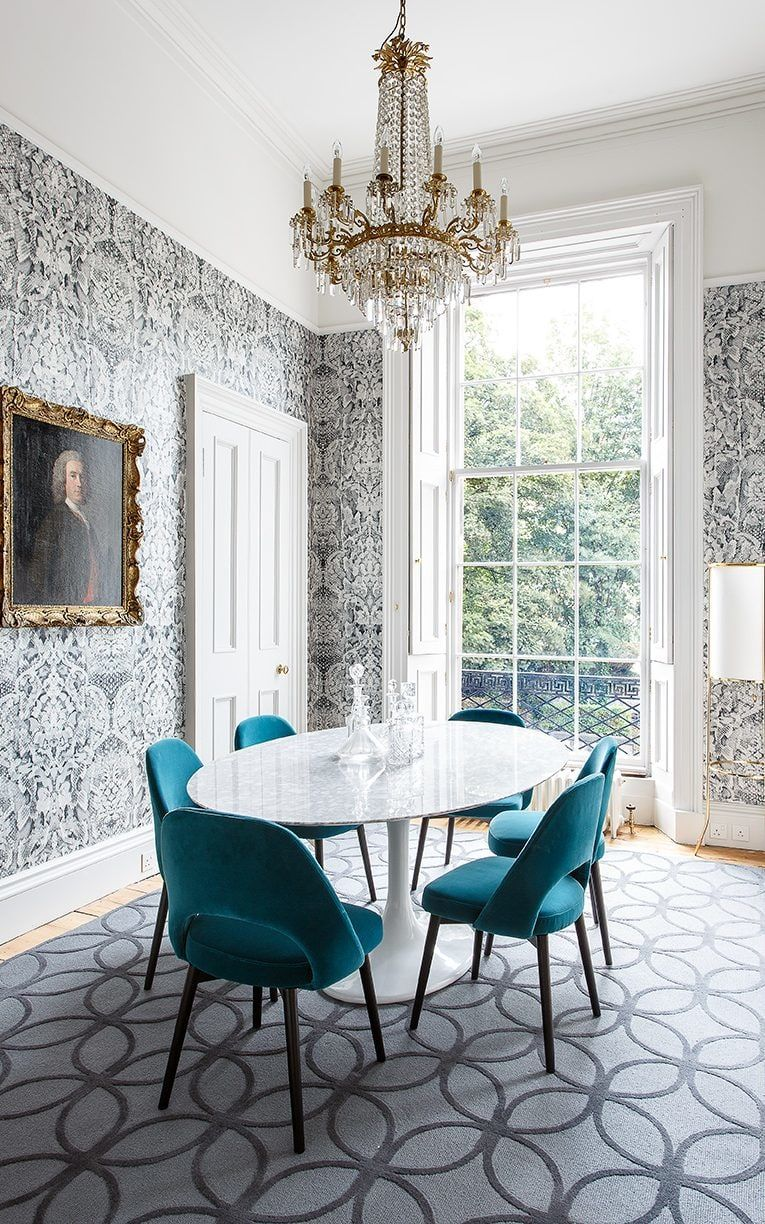 The Dining Room Features Snakeskin Damask Wallpaper By Timorous - Crystal chandelier in dining room