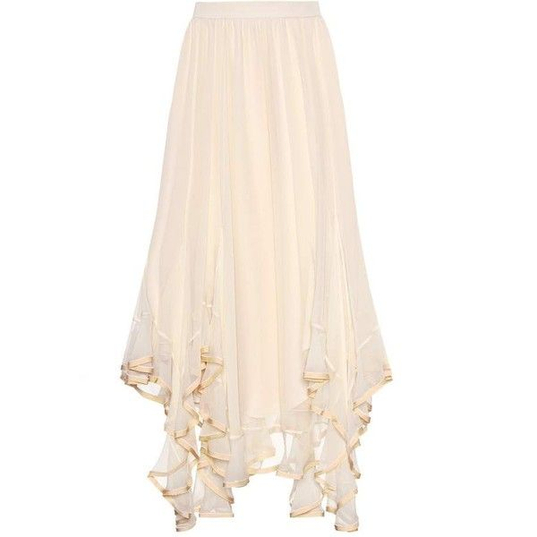 Chloé Ruffled Silk Skirt (52.380 ARS) ❤ liked on Polyvore featuring skirts, neutrals, ruffled skirts, silk skirt, pink ruffle skirt, pink frilly skirt and flounce skirt