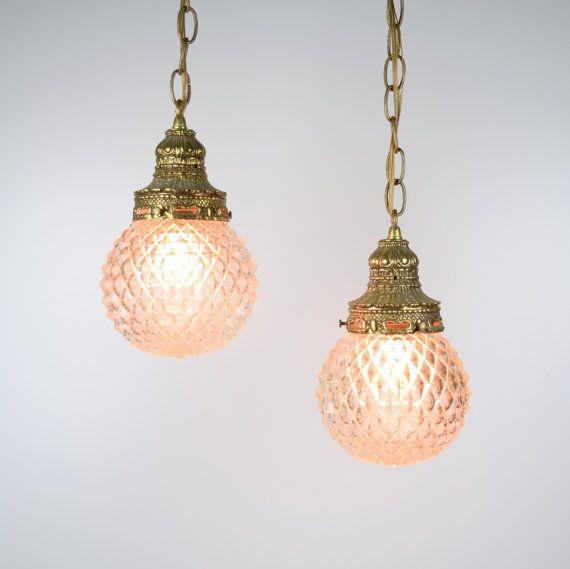 Hollywood Regency Double Globe Swag Light Pendant Lamp