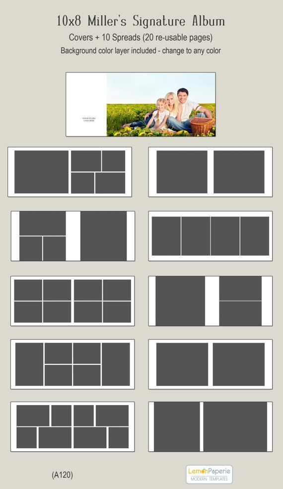 Sale 10x8 Album Template For Miller S And Prodpi A120 Etsy Photo Album Layout Photo Album Design Album Design Layout