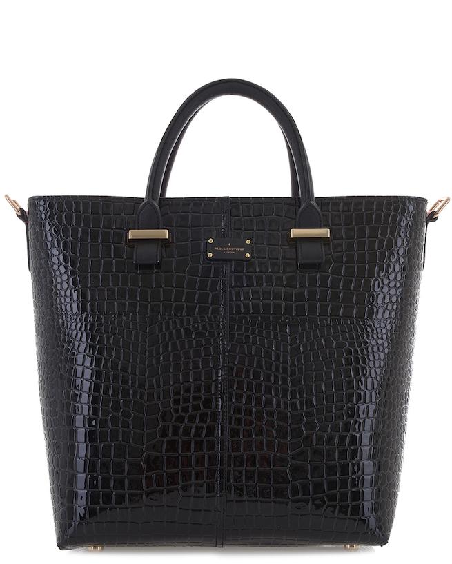 Paul's Boutique Natasha tote bag in Black Croc. Online now || www.paulsboutique... x