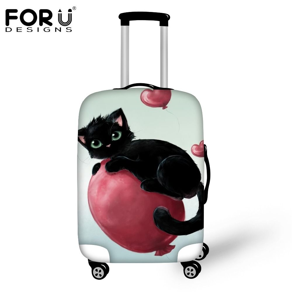 FORUDESIGNS Fashion Travel Luggage Protective Cover Cute Cat Print ...