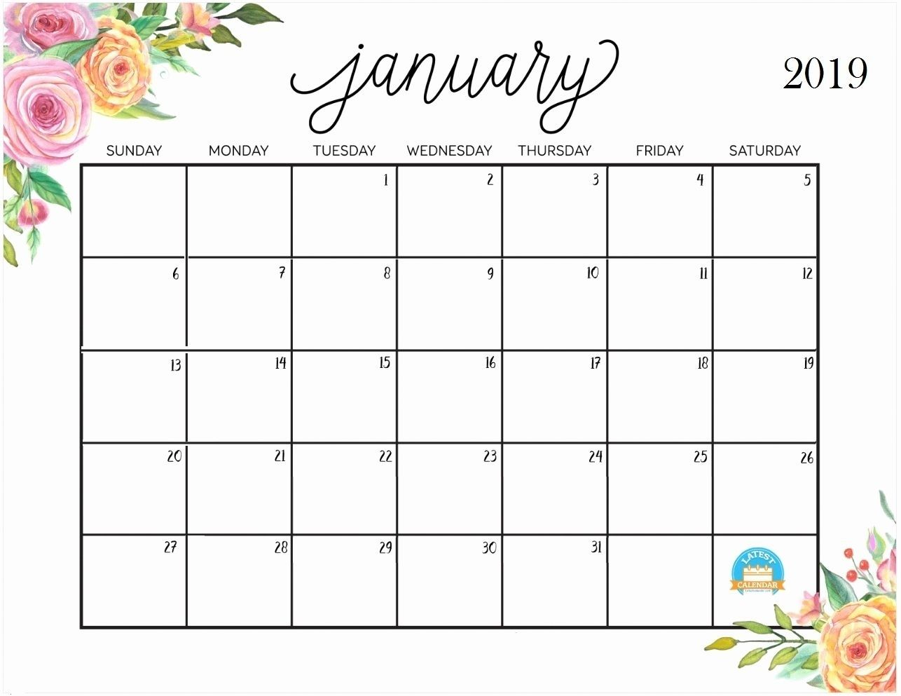 January 2019 Calendar Printable One Page Calendar Template
