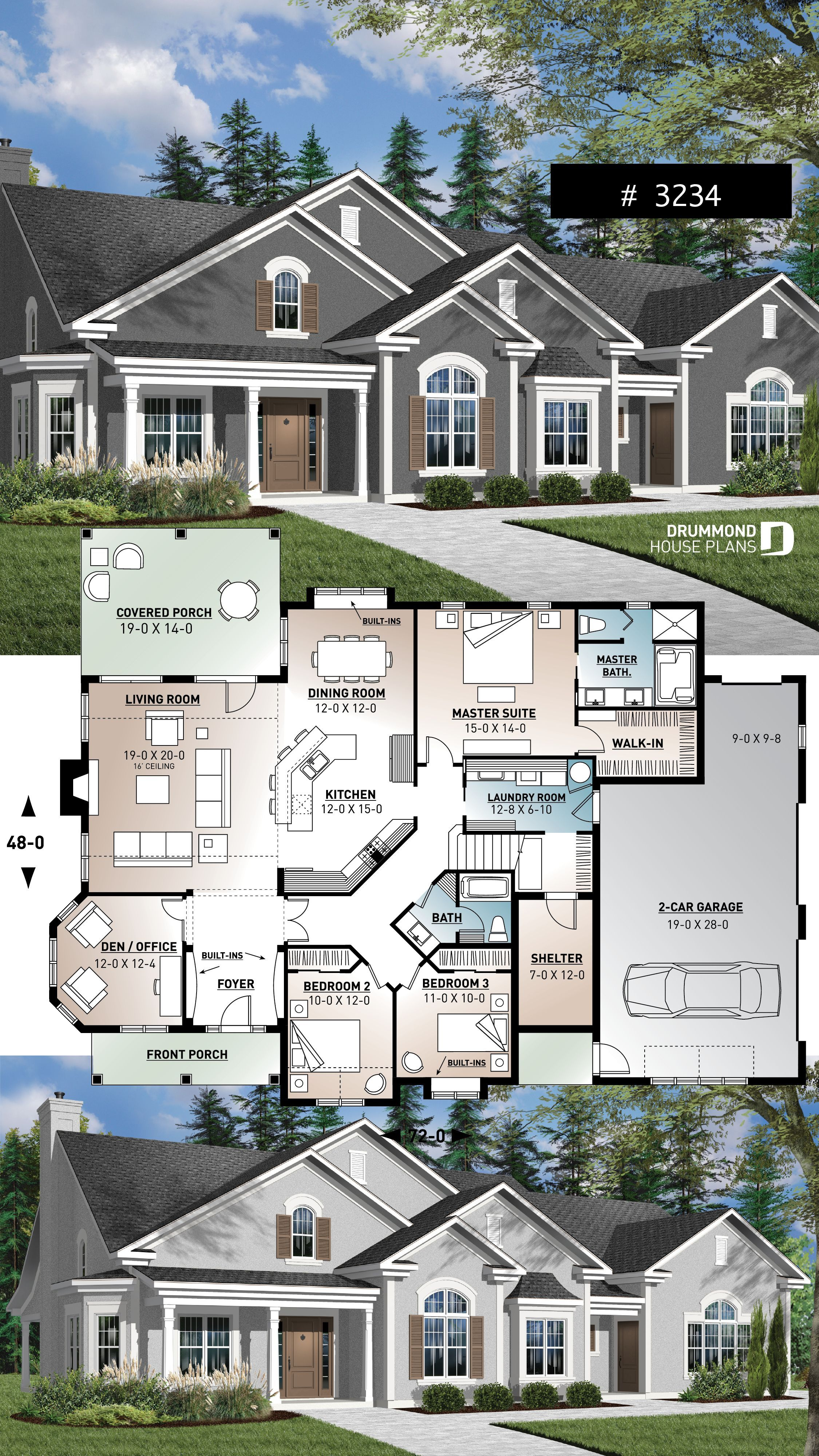 3 To 4 Bedroom Ranch Home Plan Split Bedrooms Large Master Suite 2 Car Side Entry Garage Large F In 2020 Family House Plans Craftsman House Plans Ranch House Plans