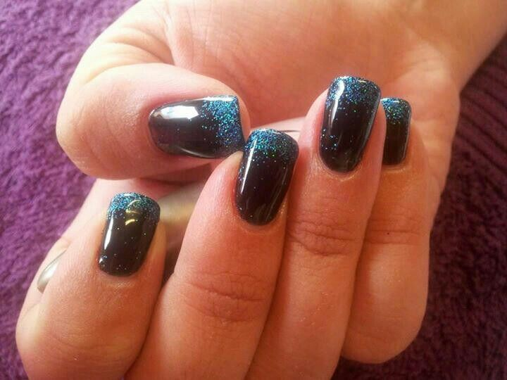 Funky Black Nails With Blue Glitter