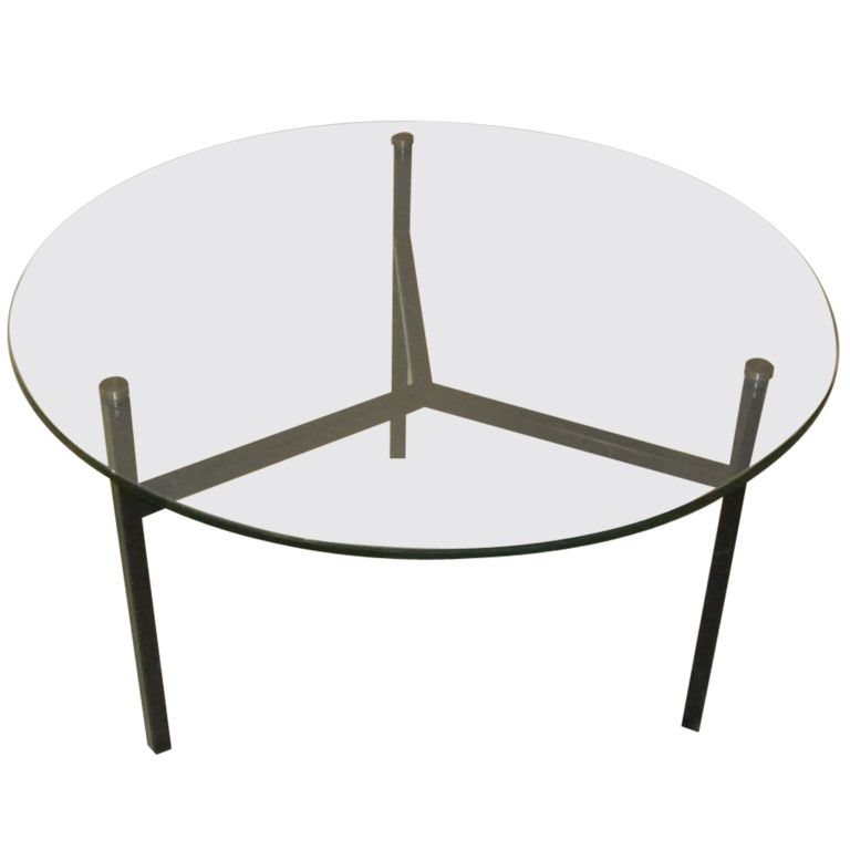 1970u0027S French Round Glass Top With Black Iron Base Coffee Table