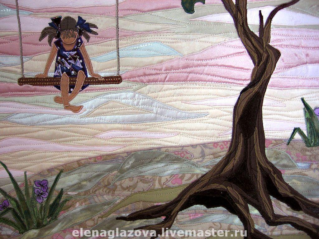 """Купить Лоскутное панно """"Маленькая принцесса"""" - девочка, дерево, планета, полумесяц, фантазийный сюжет, печворк"""