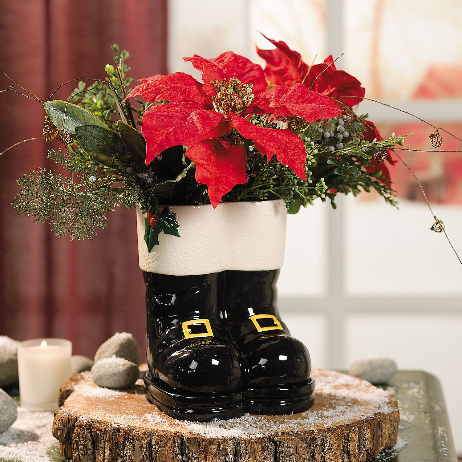 Santa Boots With Buckles Planter Terrysvillage Com Outdoor Christmas Decorations Christmas Yard Decorations Christmas Decorations