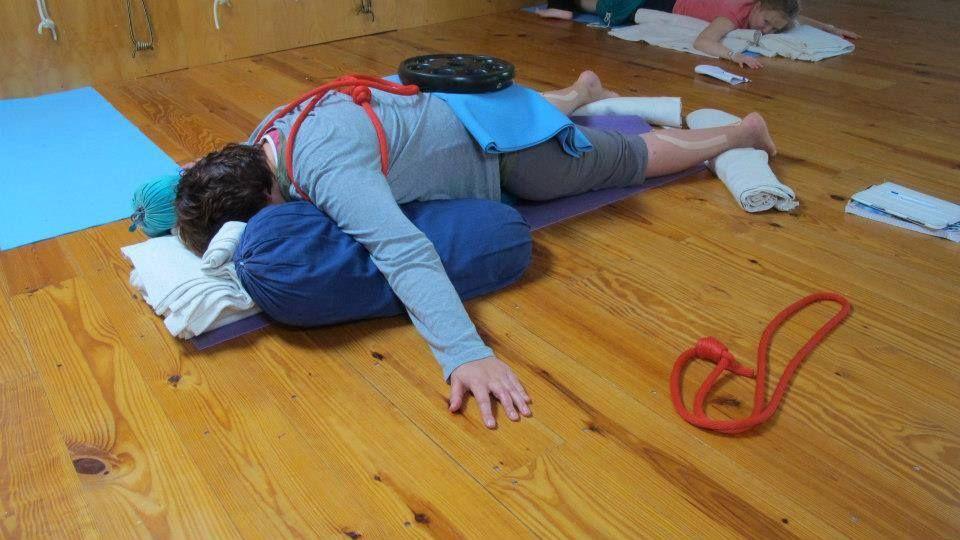 Prone Savasana Iyengar Yoga Restorative Iyengar Yoga