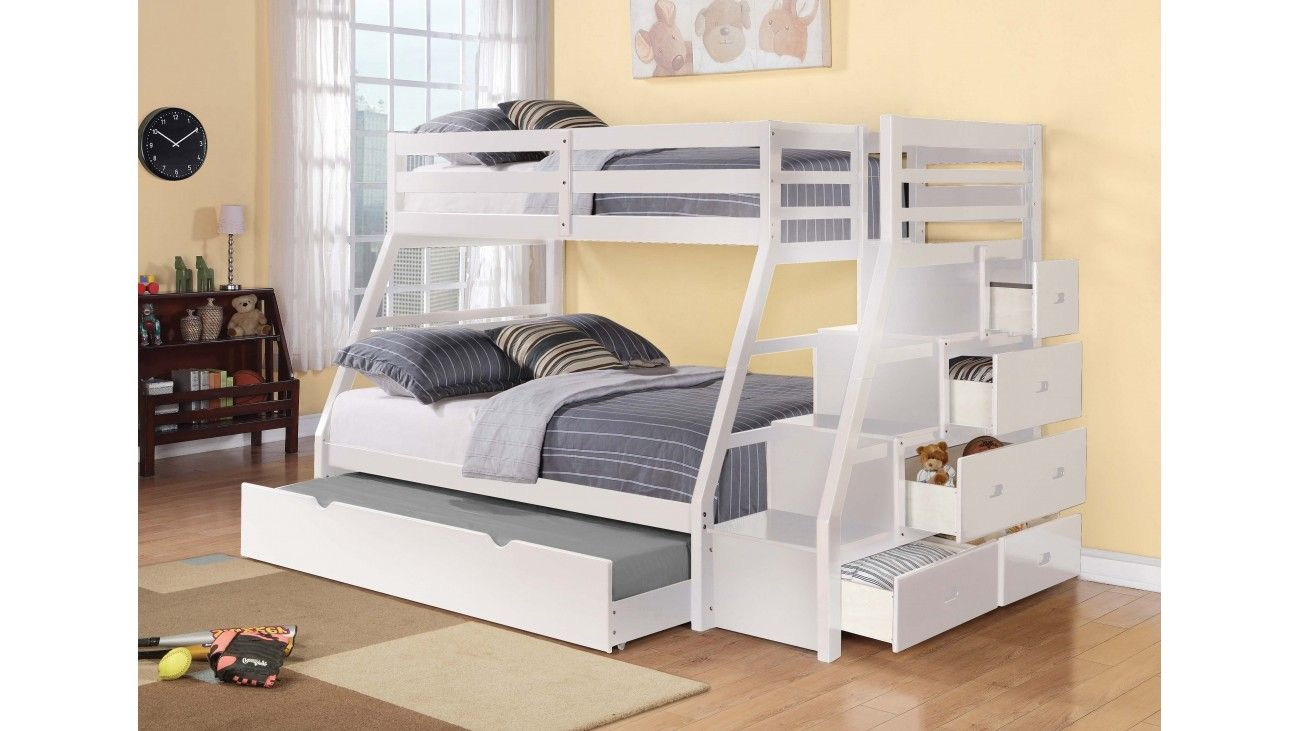 Detachable Single Over Double Stair Case Bunk Bed With Trundle And 5 Drawers On The Side For Storage With Space Saving Bunk Beds Kids Bunk Beds Cool Bunk Beds