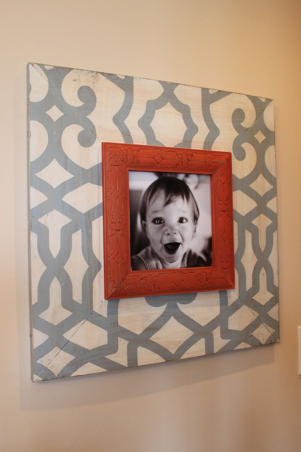Fretwork Distressed 8x8 or 8x10 Wood Picture Frame with 8\
